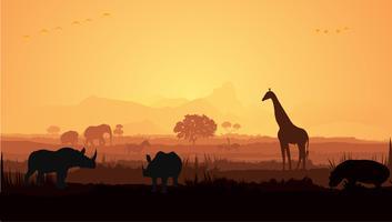Giraff och noshörning silhuett vektor