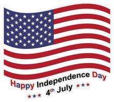 4 juli illustration med amerikanska flaggan vektor