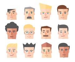 folk ikon, man porträtt ikon tecknad vektor