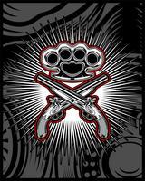 Waffe Pistole und Knöchel. Handzeichnung
