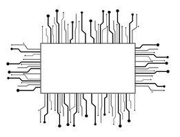 Mikrochip Box Technologie Linie Hintergrund vektor