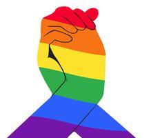 Hand hält eine andere Hand Regenbogenfahne LGBT-Symbol