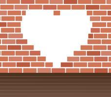 Wand des Ziegelstein- und Herzraumhintergrund-Kunstvektors