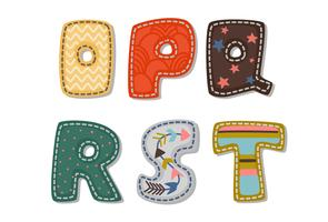Vackert tryck på fetstil alfabet för barn del 3 vektor