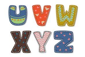 Vackert tryck på fetstil alfabet för barn del 4 vektor