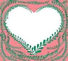 hjärtform i gröna pastellblad. Klädknappar, mexikansk daisy bakgrunds vektor EPS10