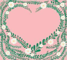 hjärtform i gröna pastellblad. Klädknappar, mexikansk daisybakgrund vektor