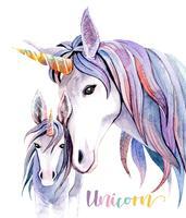 Akvarell illustration Mamma Unicorn och Baby Unicorn.