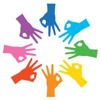 Kreis Regenbogen Farbe Hände in Ordnung Zeichen und Hintergrund Vektor