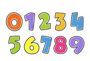 Kinderbunte Alphabet-Zahlen vektor