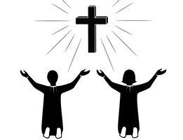 Beten Sie zum Jesus Christ-Kunstvektor