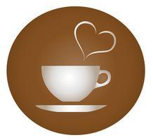 eine Tasse heiße Getränke mit braunem Hintergrund Vektor