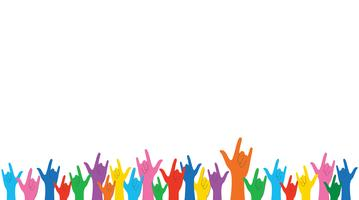 Alle Farbe Hände hoch Liebe Zeichen und Hintergrund Vektor