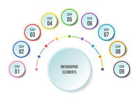Half Circle-diagram, Tidslinje infografiska mallar vektor