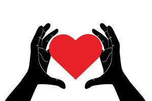 Hände, die rotes Herz des Liebeskunstvektors halten