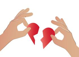 Hand, die den Vektor des defekten Herzens hält