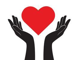 Hände, die Herzkunstvektor halten