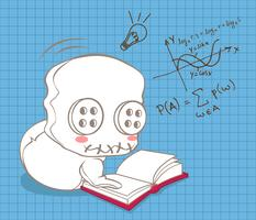Süße Puppe lernt Mathematik. vektor