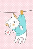 Liten katt hängdes i tecknadstil. vektor