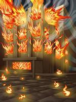 Das Gebäude brennt.