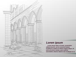 Zeichnung des zerstörten Gebäudes. vektor