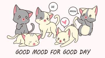 Zeichne 5 kleine Katzenfiguren.