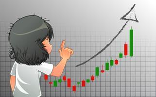 Sie erwartet ein Geschäftswachstum im Cartoon-Stil. vektor