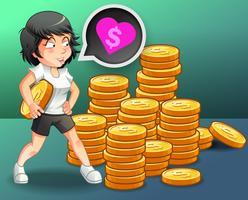 Sie liebt Geld mit Münzen Hintergrund.