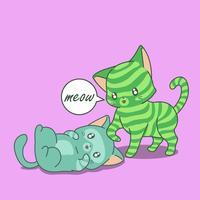 Freundschaft von 2 Katzen im Cartoon-Stil.