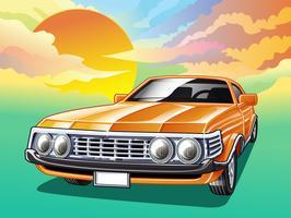 Vintage bil på himmel bakgrund i tecknad stil.