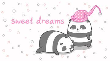 Panda wiegt seinen Freund ein. vektor