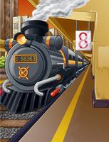 Eisenbahn in Bahnhof und Dampfmaschine.