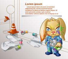 Graffiti-Kaninchen und Ausrüstung der Malerei.