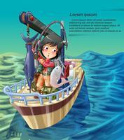 Vektorfischer fischt auf seinem Schiff im Seehintergrund.