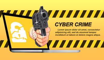 Cyber-Kriminalität im Cartoon-Stil.