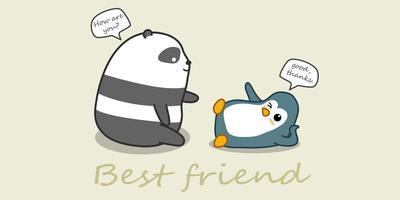 Panda och pingvin pratar.