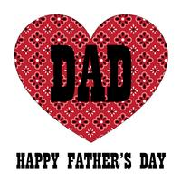 Vatertagstypographiegraphik mit rotem Bandanaherzen