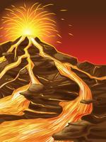 Der Vulkan ist im Cartoon-Stil gebrochen.