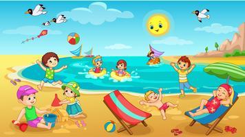 Kinder spielen am Strand vektor