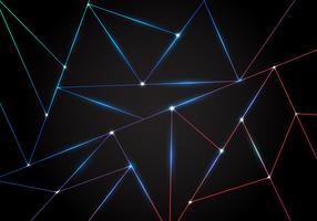 Abstrakt teknik polygonalt mönster och svarta trianglar laserlinjer med belysning på mörk bakgrund.