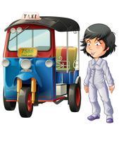 Vektor isolerad thailändsk förare och motor tricycle.