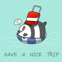 Panda auf Rettungsring im Meer.