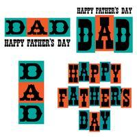 Glückliche Vatertags-Typografiegraphiken blau und orange