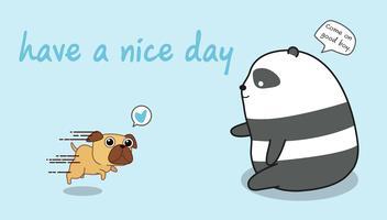 Panda leker med en hund.