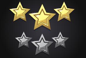 Goldene Sternikone mit drei Bewertungen vektor
