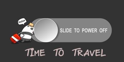 Panda lässt den Stift gleiten, um das Mobiltelefon für Reisen in den Urlaub auszuschalten. vektor