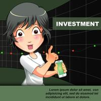 Någon uppmanar dig att investera med diagrambakgrund.