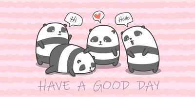 Panda familj i tecknad stil.