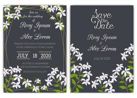 Bröllop inbjudningskort Blommigt handdramad ram. vektor