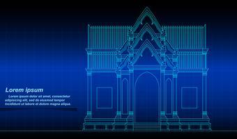 Historisk thailändsk byggplan. vektor